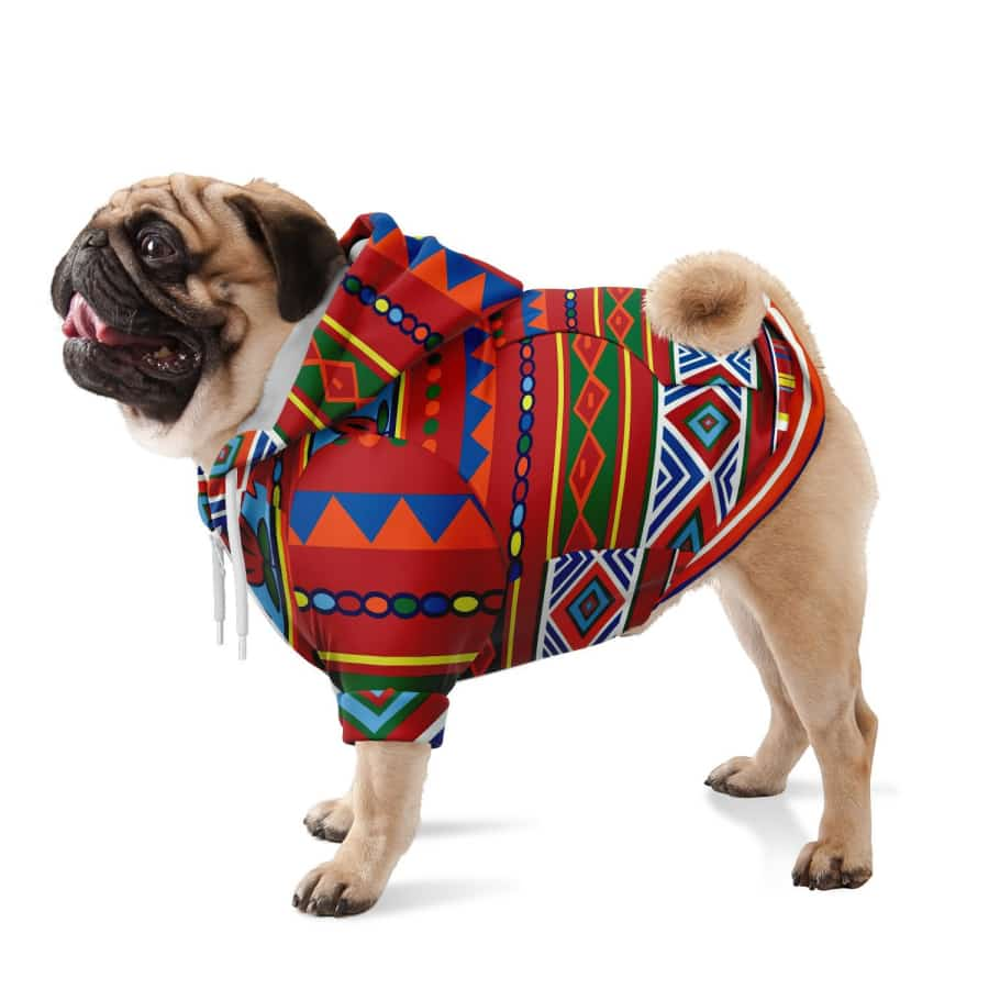 African Lotus Dog Zip-Up Hoodie - XXS - Athletic Dog Zip-Up Hoodie - AOP