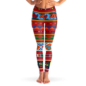 African Lotus Mesh Pocket Legging - XS - Mesh Pocket Legging - AOP