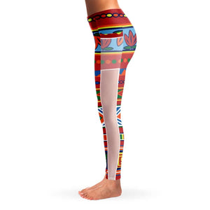African Lotus Mesh Pocket Legging - Mesh Pocket Legging - AOP