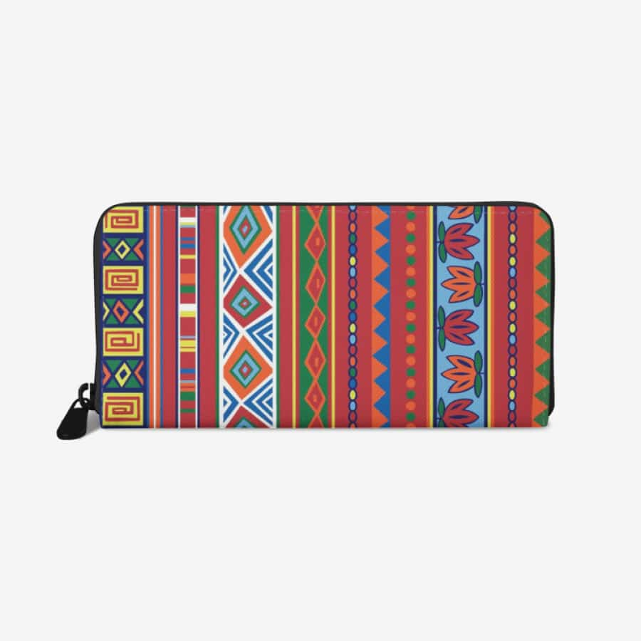 African Lotus premium PU Leather Wallet - White - Wallet