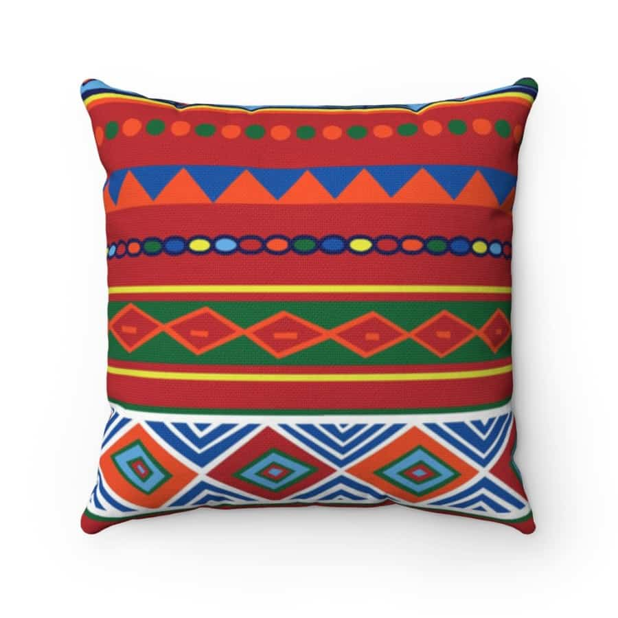 African Lotus Spun Polyester Square Pillow - Home Decor