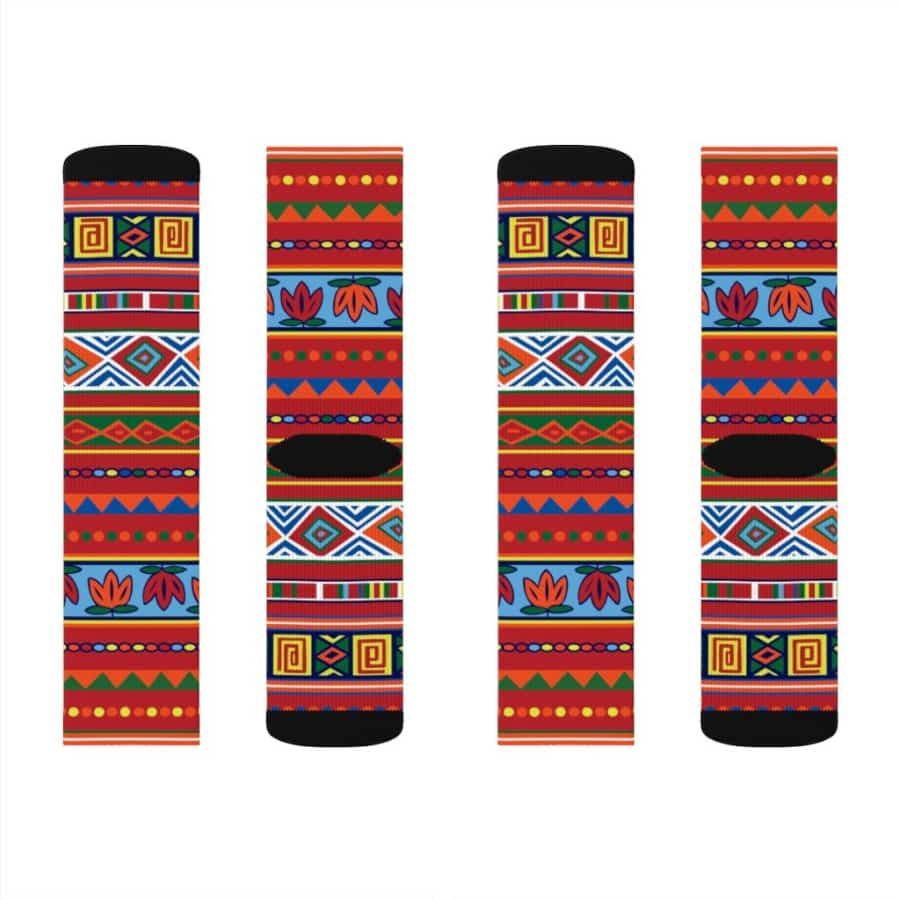 African Lotus Sublimation Socks - L - All Over Prints