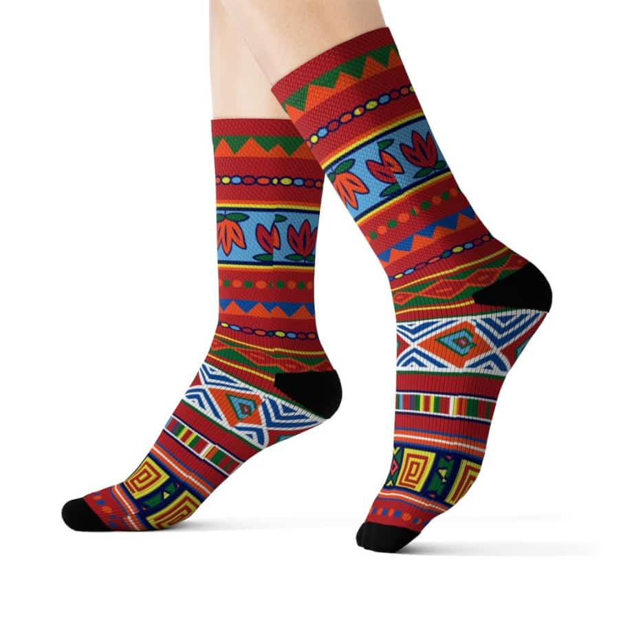 African Lotus Sublimation Socks - All Over Prints