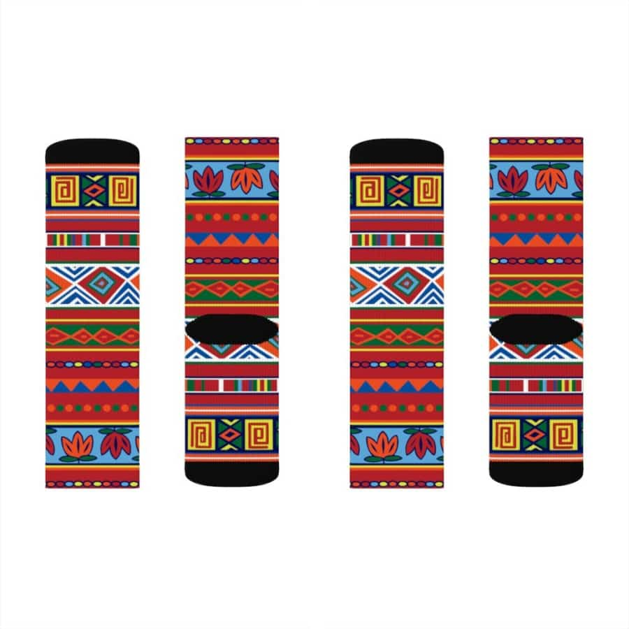 African Lotus Sublimation Socks - S - All Over Prints