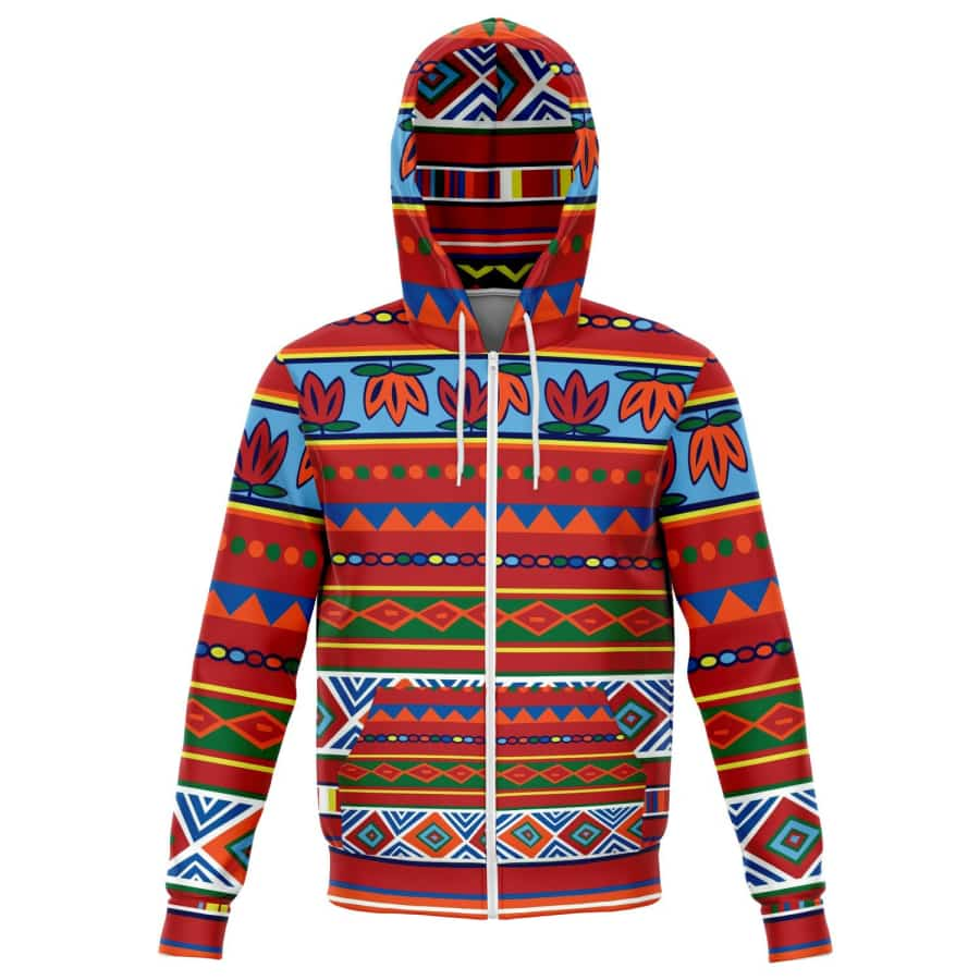 African Lotus Zip-Up Hoodie - XS - Athletic Zip-Up Hoodie - AOP