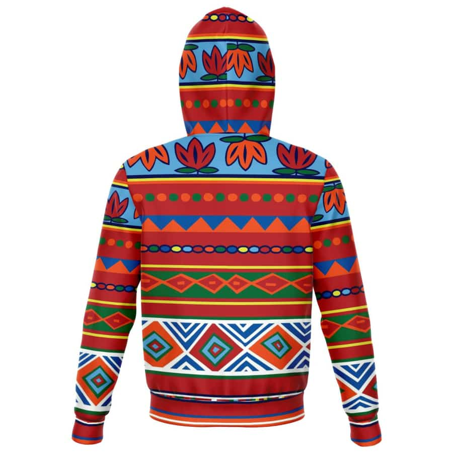 African Lotus Zip-Up Hoodie - Athletic Zip-Up Hoodie - AOP