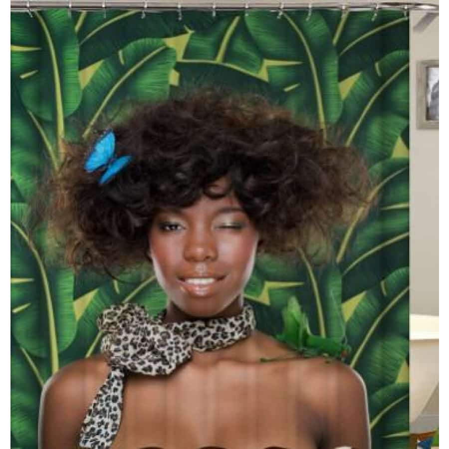 African girl digital print shower curtain - 180x180 / yl0598# - Furniture