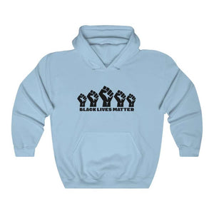 Afrocentric 5 Fists Hooded Sweatshirt - Light Blue / S - Hoodie