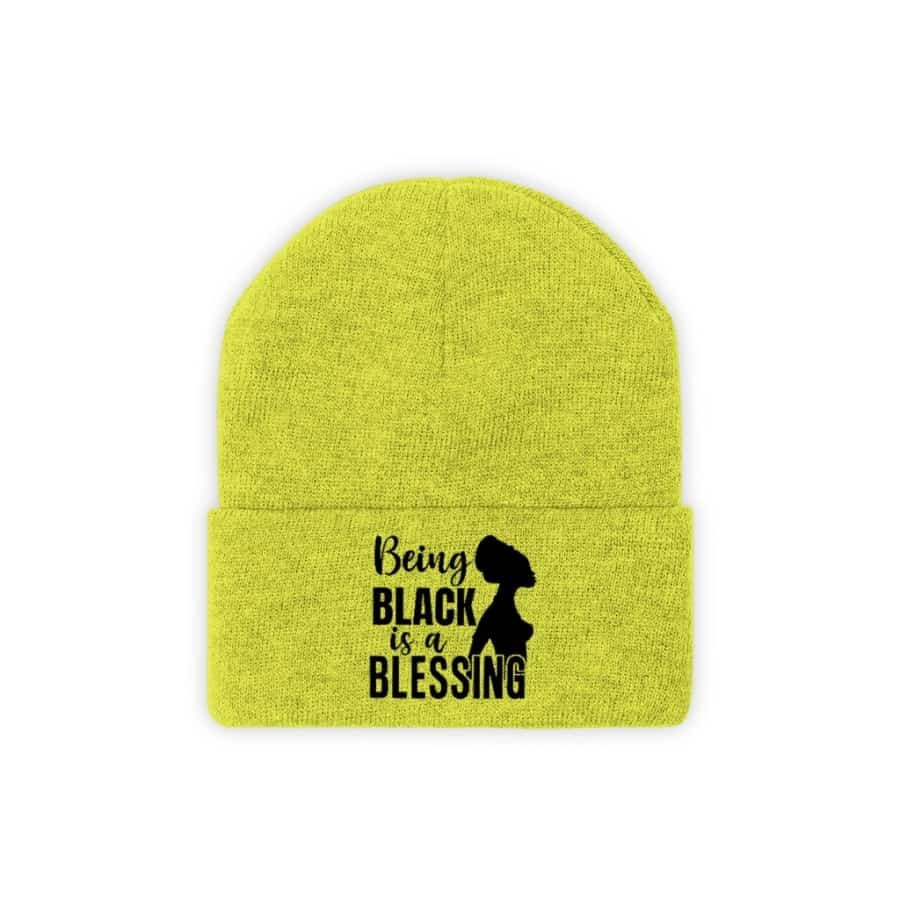 Afrocentric Being Black Is A Blessing Knit Beanie - Neon Yellow / One size - Hats