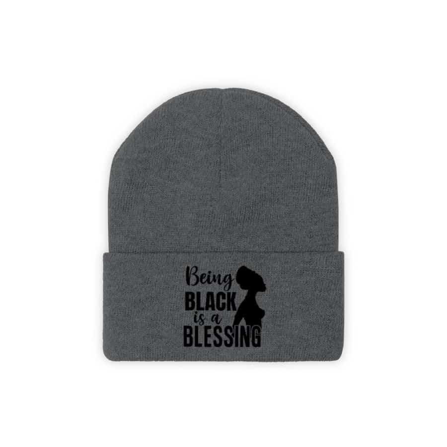 Afrocentric Being Black Is A Blessing Knit Beanie - Graphite Heather / One size - Hats