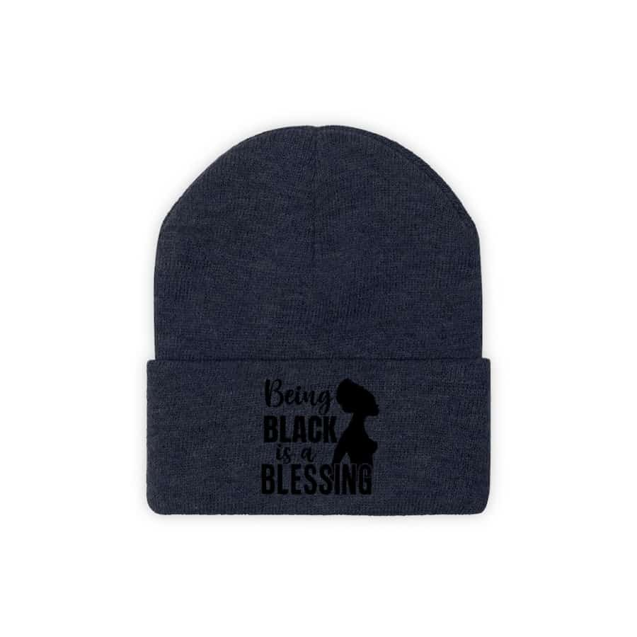 Afrocentric Being Black Is A Blessing Knit Beanie - True Navy / One size - Hats