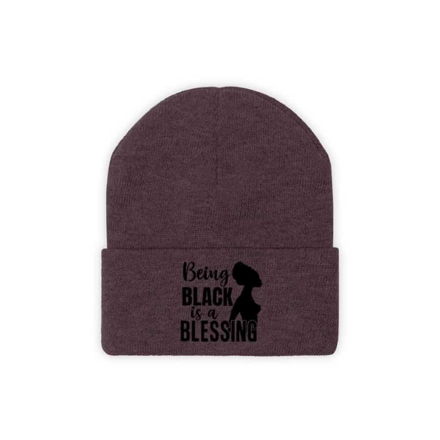 Afrocentric Being Black Is A Blessing Knit Beanie - Maroon / One size - Hats
