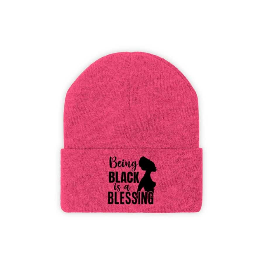 Afrocentric Being Black Is A Blessing Knit Beanie - Neon Pink / One size - Hats
