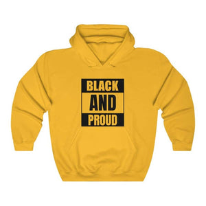 Afrocentric BLACK AND PROUD Hooded Sweatshirt - Gold / S - Hoodie