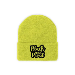 Afrocentric BLACK AND PROUD Knit Beanie - Neon Yellow / One size - Hats