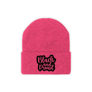 Afrocentric BLACK AND PROUD Knit Beanie - Neon Pink / One size - Hats