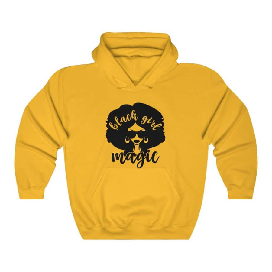 Afrocentric Black Girl Magic Hooded Sweatshirt - Gold / S - Hoodie