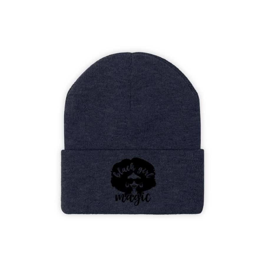 Afrocentric Black Girl Magic Knit Beanie - True Navy / One size - Hats