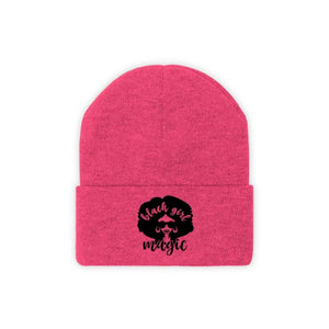 Afrocentric Black Girl Magic Knit Beanie - Neon Pink / One size - Hats