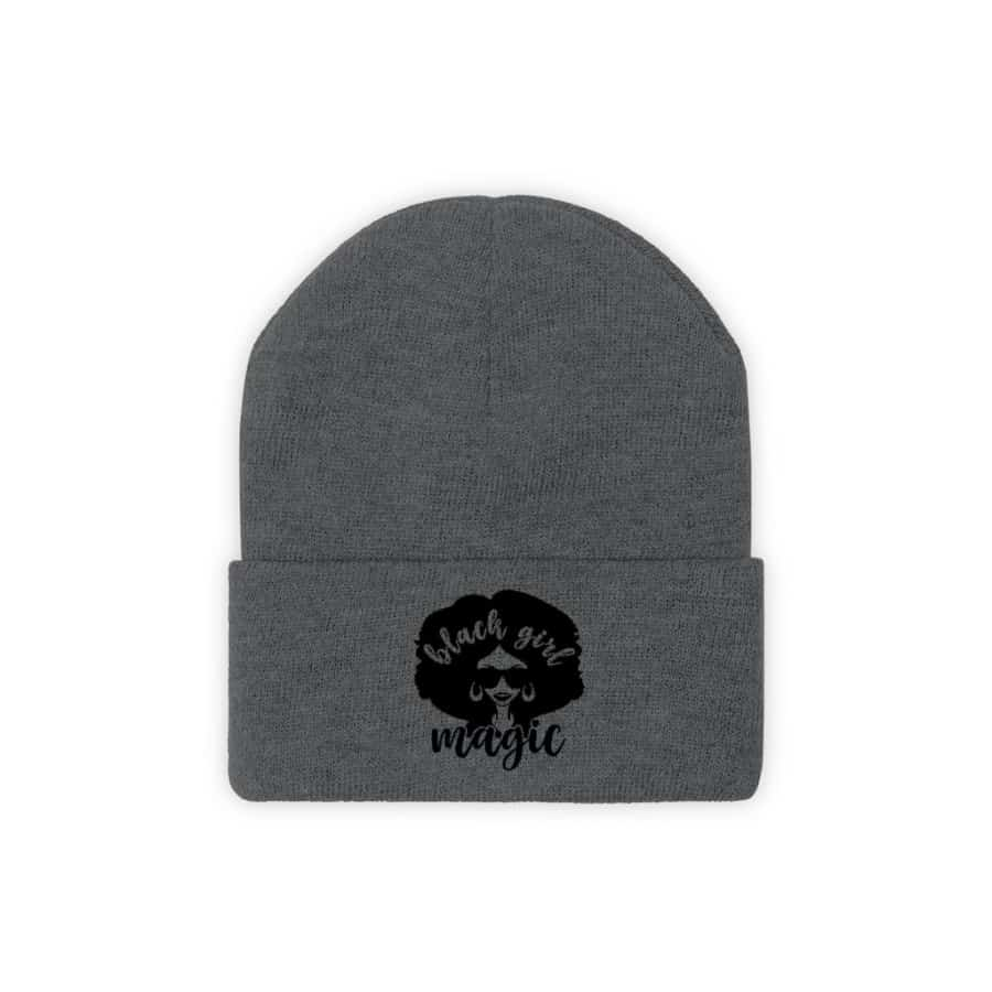 Afrocentric Black Girl Magic Knit Beanie - Graphite Heather / One size - Hats