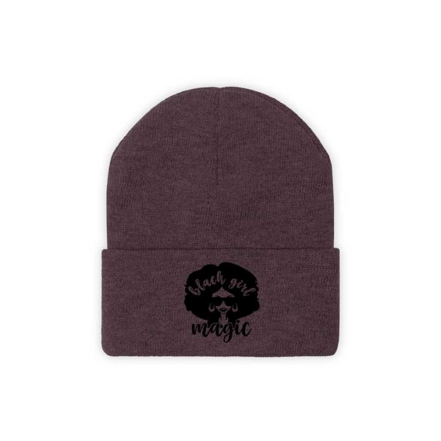 Afrocentric Black Girl Magic Knit Beanie - Maroon / One size - Hats