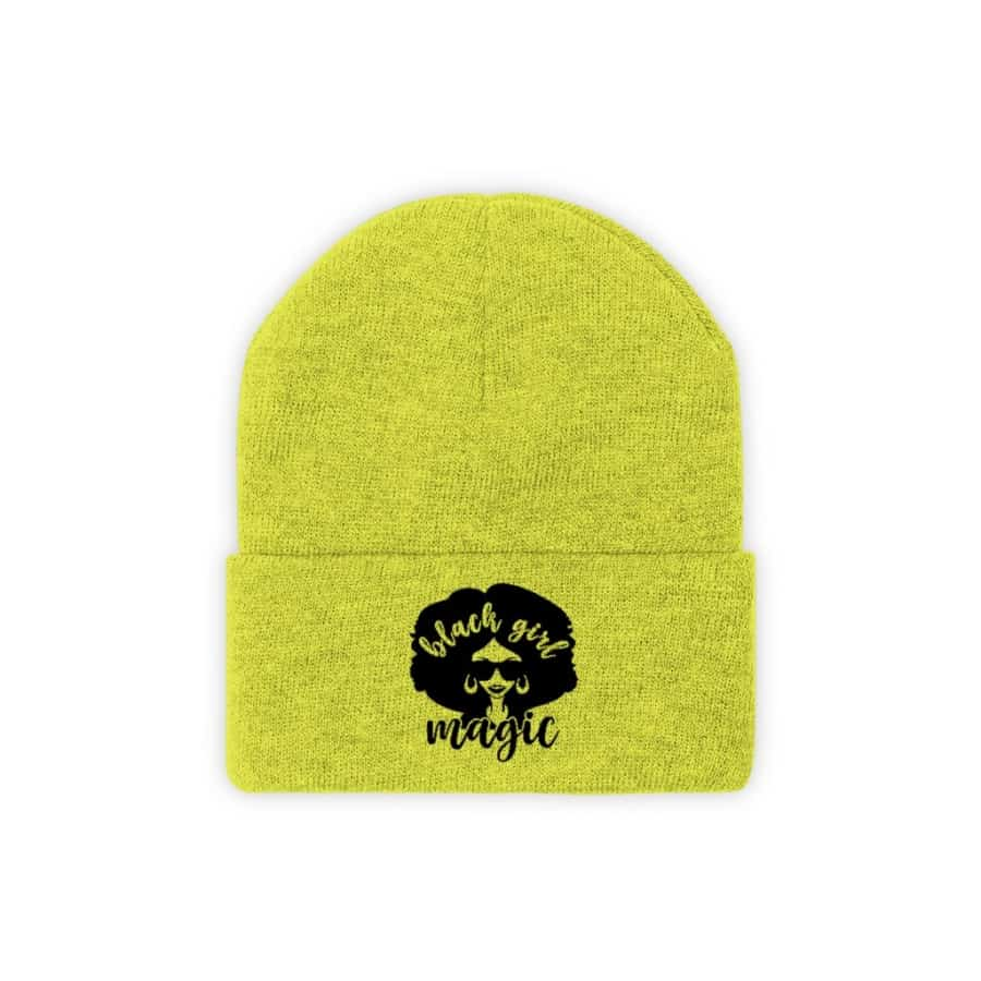 Afrocentric Black Girl Magic Knit Beanie - Neon Yellow / One size - Hats