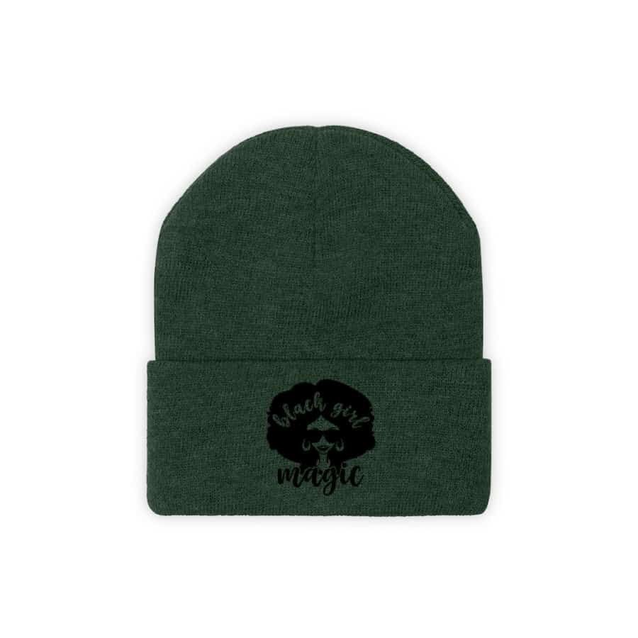 Afrocentric Black Girl Magic Knit Beanie - Forest Green / One size - Hats