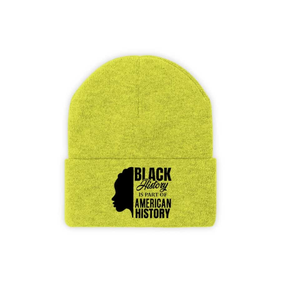 Afrocentric Black History Knit Beanie - Neon Yellow / One size - Hats