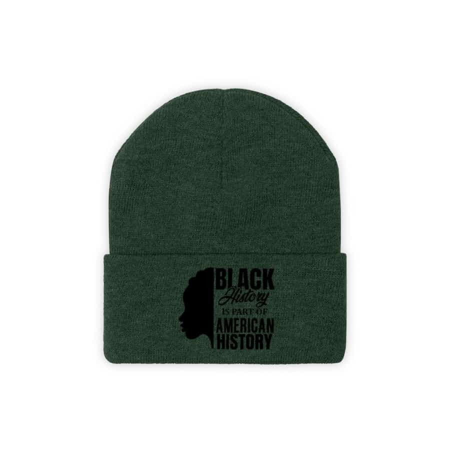 Afrocentric Black History Knit Beanie - Forest Green / One size - Hats