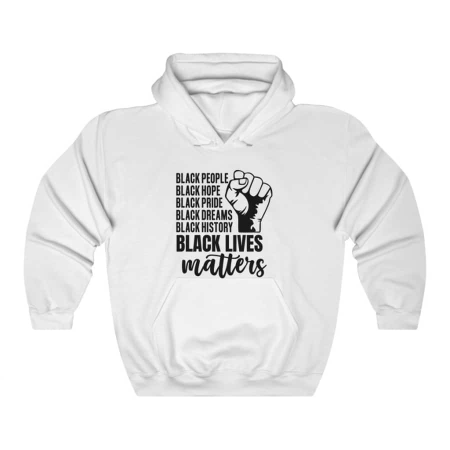Afrocentric Black Lives Matter Hooded Sweatshirt - White / L - Hoodie
