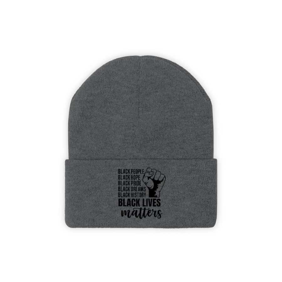 Afrocentric Black Lives Matter Knit Beanie - Graphite Heather / One size - Hats
