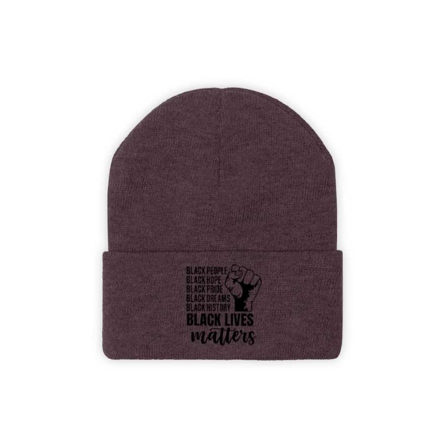 Afrocentric Black Lives Matter Knit Beanie - Maroon / One size - Hats