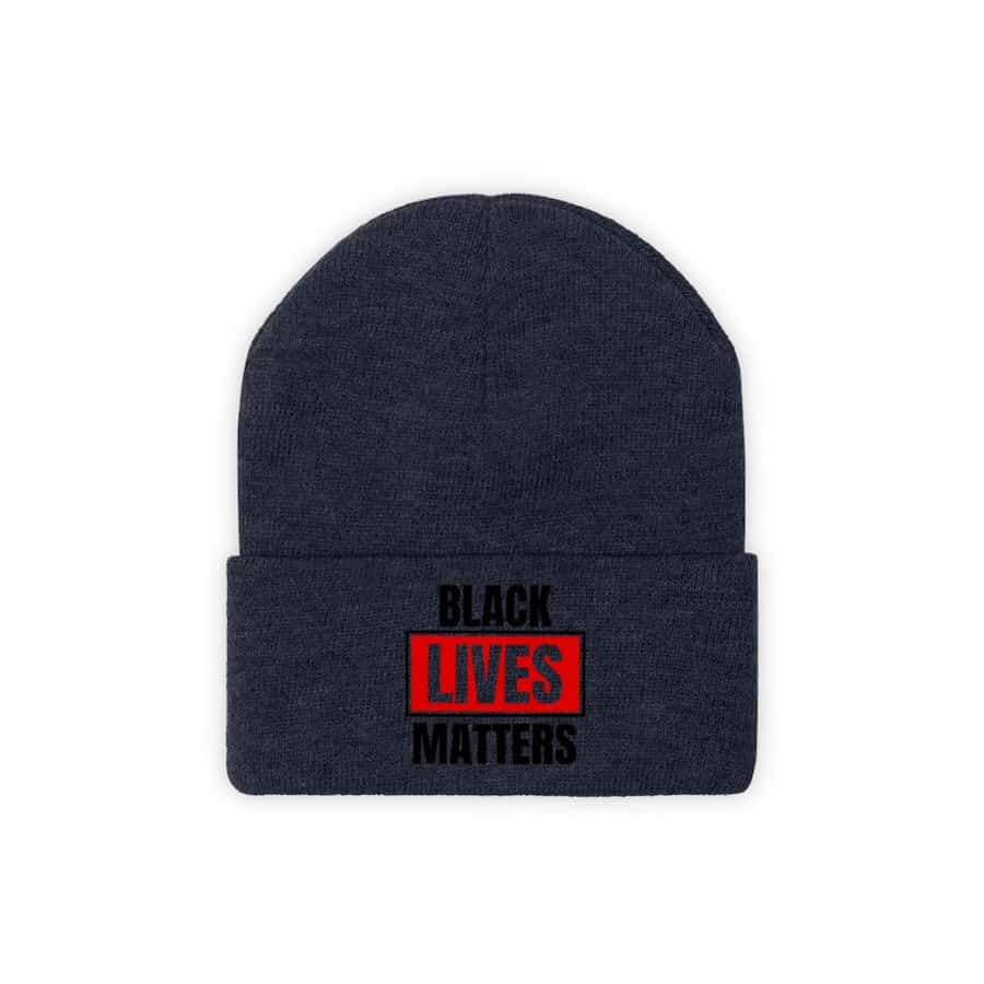 Afrocentric Black Lives Matter Knit Beanie - True Navy / One size - Hats