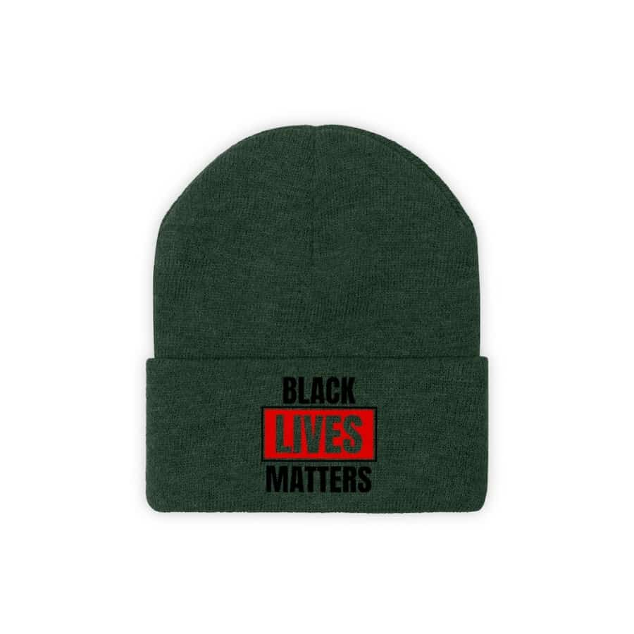 Afrocentric Black Lives Matter Knit Beanie - Forest Green / One size - Hats