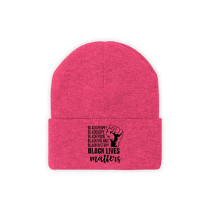 Afrocentric Black Lives Matter Knit Beanie - Neon Pink / One size - Hats