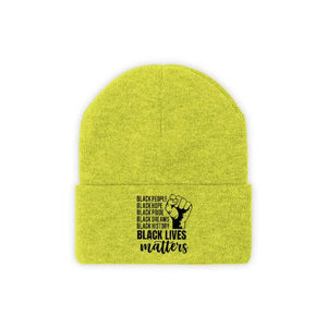 Afrocentric Black Lives Matter Knit Beanie - Neon Yellow / One size - Hats