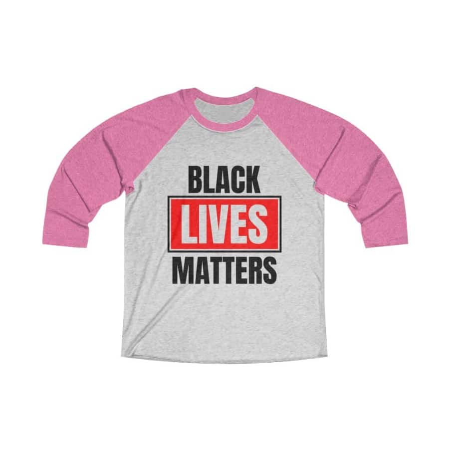 Afrocentric Black Lives Matters Tri-Blend Raglan Tee - Vintage Pink / Heather White / XS - Long-sleeve