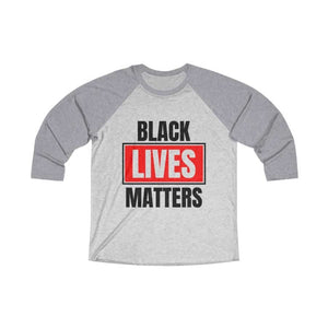 Afrocentric Black Lives Matters Tri-Blend Raglan Tee - Premium Heather / Heather White / XS - Long-sleeve