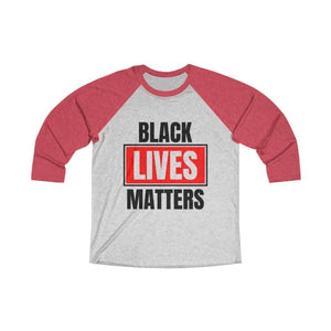 Afrocentric Black Lives Matters Tri-Blend Raglan Tee - Vintage Red / Heather White / XS - Long-sleeve