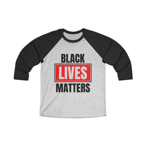 Afrocentric Black Lives Matters Tri-Blend Raglan Tee - Vintage Black / Heather White / XS - Long-sleeve