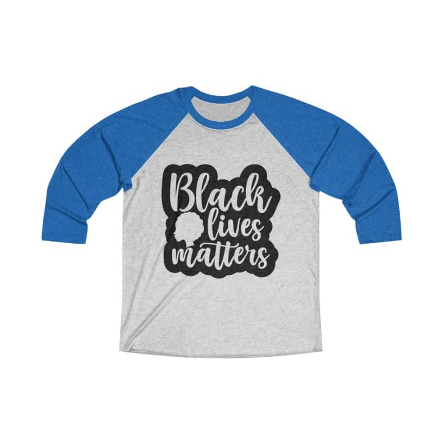 Afrocentric Black Lives Matters Tri-Blend Raglan Tee - Vintage Royal / Heather White / XS - Long-sleeve