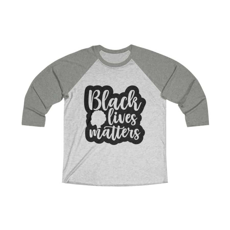 Afrocentric Black Lives Matters Tri-Blend Raglan Tee - Venetian Grey / Heather White / L - Long-sleeve