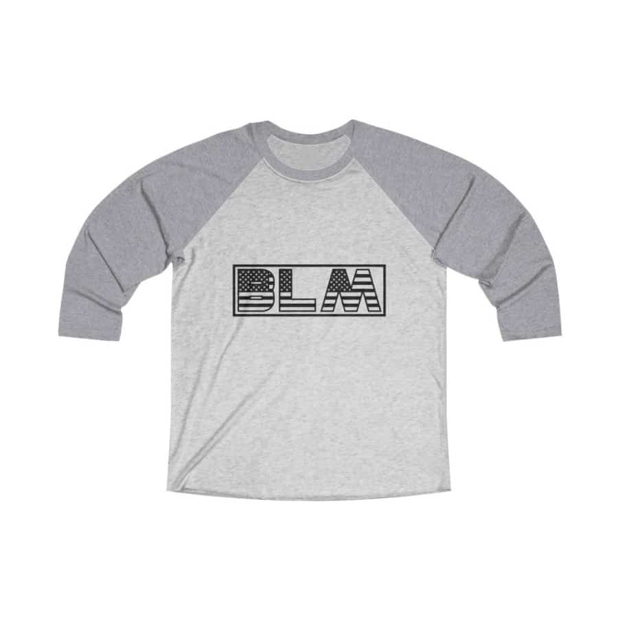 Afrocentric BLM Flag Letters Tri-Blend Raglan Tee - Premium Heather / Heather White / XS - Long-sleeve