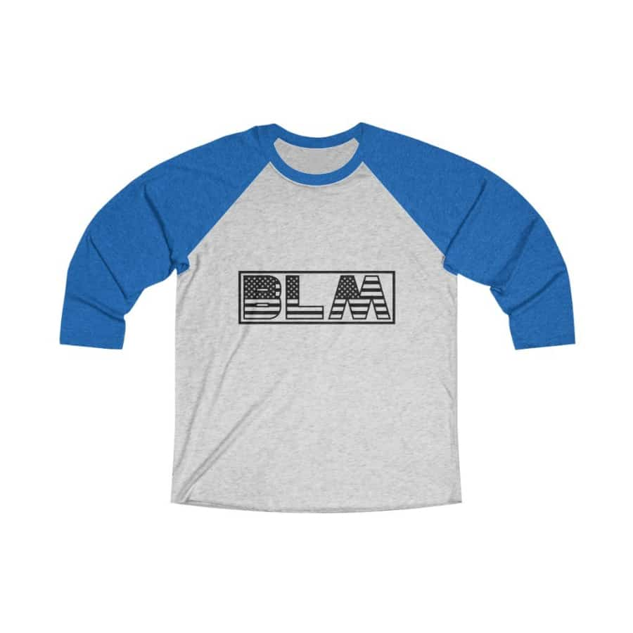 Afrocentric BLM Flag Letters Tri-Blend Raglan Tee - Vintage Royal / Heather White / XS - Long-sleeve