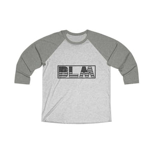 Afrocentric BLM Flag Letters Tri-Blend Raglan Tee - Venetian Grey / Heather White / L - Long-sleeve
