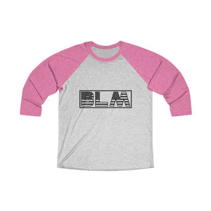 Afrocentric BLM Flag Letters Tri-Blend Raglan Tee - Vintage Pink / Heather White / XS - Long-sleeve