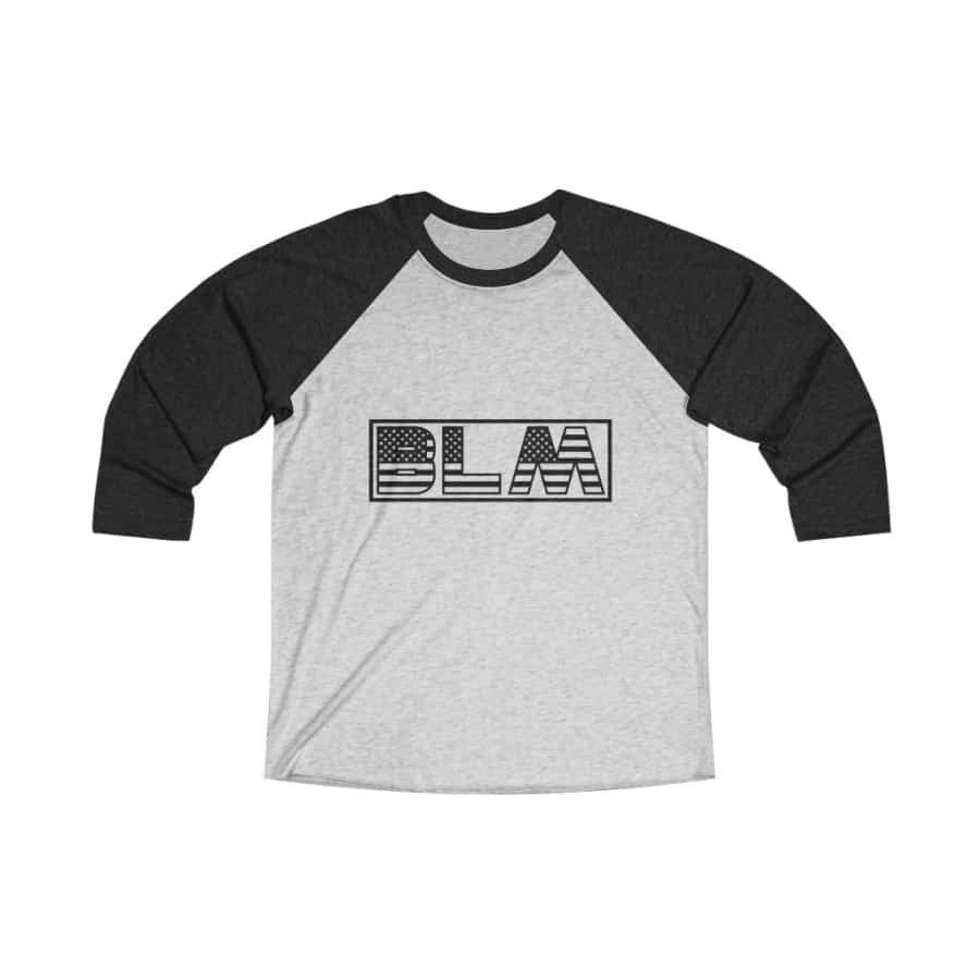 Afrocentric BLM Flag Letters Tri-Blend Raglan Tee - Vintage Black / Heather White / XS - Long-sleeve