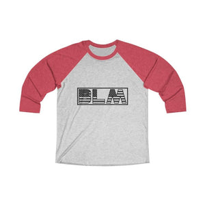 Afrocentric BLM Flag Letters Tri-Blend Raglan Tee - Vintage Red / Heather White / XS - Long-sleeve