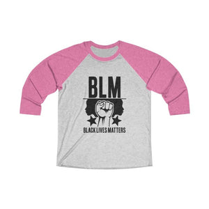 Afrocentric BLM Tri-Blend Raglan Tee - Vintage Pink / Heather White / XS - Long-sleeve