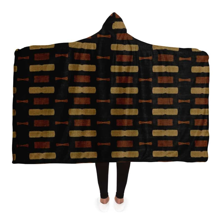 Afrocentric Bogolan Hooded Blanket - Adult / Premium Sherpa - Hooded Blanket - AOP